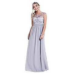 Sistaglam - Silver 'Beverley' lace bridesmaid maxi dress