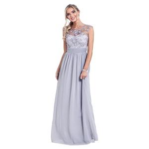 Sistaglam Silver 'Beverley' lace bridesmaid maxi dress