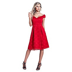 Sistaglam - Red 'Jadey' lace bardot prom dress