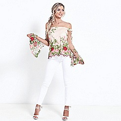 Sistaglam - Multicolour 'Moana' sheer Embroidered floral top