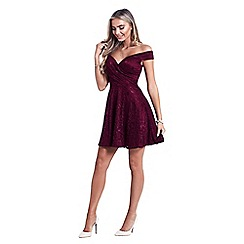 Sistaglam - Burgundy 'Martina' lace prom dress