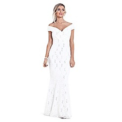 Sistaglam - White 'Elizabeth' sequin bardot maxi dress