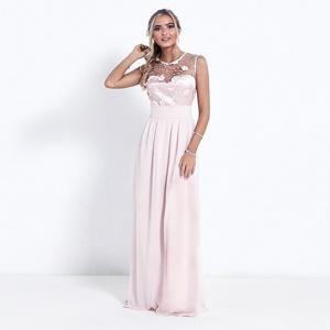 Sistaglam Nude 'Elena' high neck embellished maxi dress