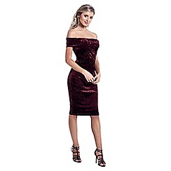 Sistaglam - Burgundy 'Briley' off the shoulder bodycon dress