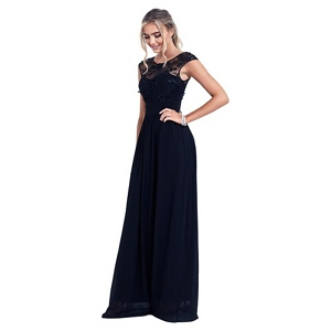 Sistaglam Navy blue 'Beverley' embellished maxi dress