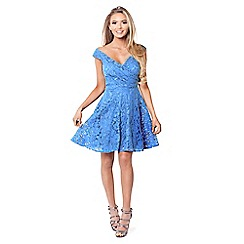 Sistaglam - Blue 'Martina' blue lace bardot skater dress