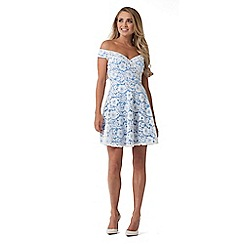 Sistaglam - White 'Martina' lace bardot skater dress with cornflower blue lining