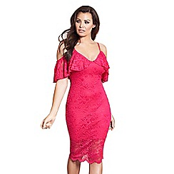 Jessica Wright for Sistaglam - Pink 'Saydee' lace cold shoulder bodycon dress