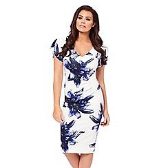 Sistaglam - Floral 'Zariah' floral print bardot bodycon dress