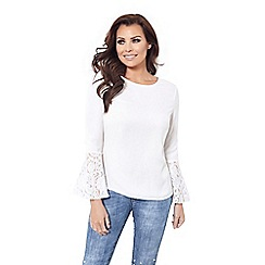 Jessica Wright for Sistaglam - Cream 'Leni' frill lace sleeves blouse