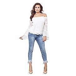 Jessica Wright for Sistaglam - Cream 'Dina' lace off-the-shoulder frill sleeves top