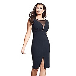 Jessica Wright for Sistaglam - Black 'Amalia' mesh bodycon dress with split