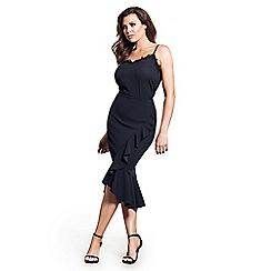 Jessica Wright for Sistaglam - Black 'Alessandra' midi wrap frill ruffle skirt