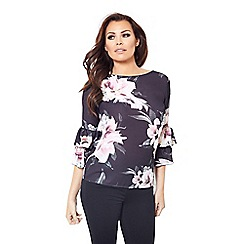Jessica Wright for Sistaglam - Multicoloured 'Karmen' floral print bell sleeves blouse