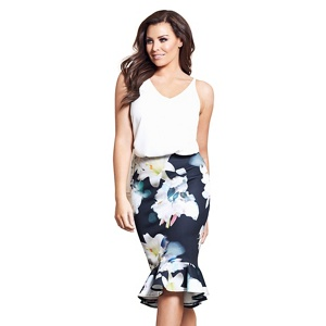 Jessica Wright for Sistaglam Multicoloured 'Isolde' floral print frilled hem skirt