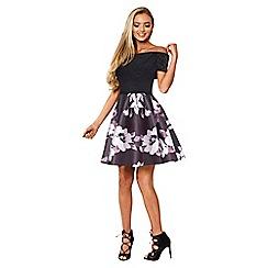 Sistaglam - Black 'Satya' off the shoulder skater dress