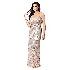 Jessica Wright for Sistaglam - Nude 'Clementina' embroidered mesh overlay maxi dress