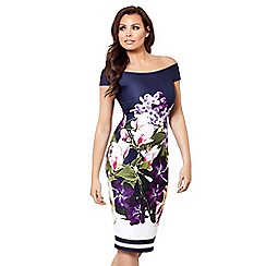 Jessica Wright for Sistaglam - Navy 'Pascala' floral bardot bodycon dress
