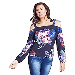 Jessica Wright for Sistaglam - Multicoloured 'Charley' floral off the shoulder top