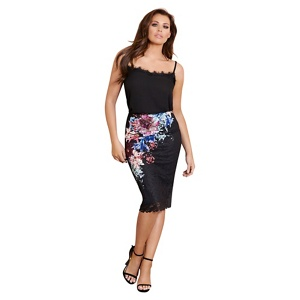 Jessica Wright for Sistaglam Multi-coloured 'Draven' midi floral print lace skirt