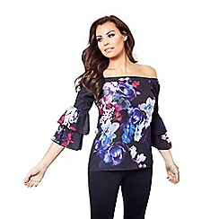Jessica Wright for Sistaglam - Blue 'Flissie' off the shoulder top with floral print and frilled sleeves