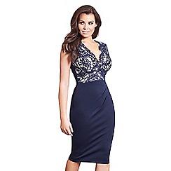 Jessica Wright for Sistaglam - Navy 'Lorena' lace top midi bodycon dress