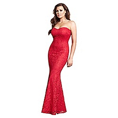 Jessica Wright for Sistaglam - Red 'Arizona' lace fishtail bandeau all over maxi dress