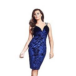 Jessica Wright for Sistaglam - Navy 'Andrezza' velvet wrap front cami strap dress