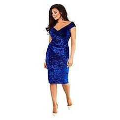 Jessica Wright for Sistaglam - Cobalt  'Roberta' velvet knot bodycon dress