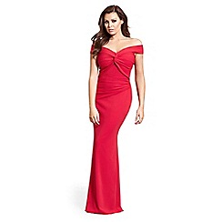 Jessica Wright for Sistaglam - Red 'Marina' knot front maxi stretch maxi dress