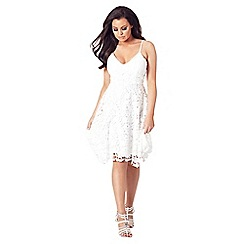 Jessica Wright for Sistaglam - White 'Lllia' lace dress with spaghetti straps