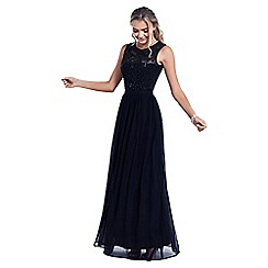 Sistaglam - Black 'Nikalia' embroided and beaded maxi dress