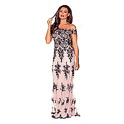 Jessica Wright for Sistaglam - Nude 'Paola' vip sequin embroidered mesh bardot maxi dress