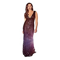 Jessica Wright for Sistaglam - Black 'Olympia' VIP sequin embellished deep v-neck maxi dress