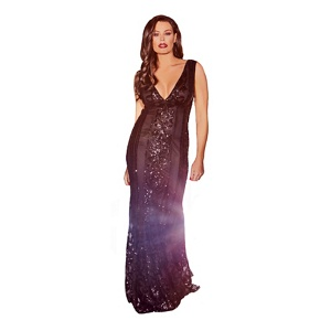 Jessica Wright for Sistaglam Black 'Olympia' VIP sequin embellished deep v-neck maxi dress