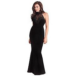 Jessica Wright for Sistaglam - Black 'Aurelia' vip embellished mesh lace trim halterneck maxi dress