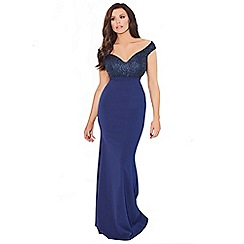 Jessica Wright for Sistaglam - Navy 'Seraphina' Vip bardot sequin rouched maxi dress