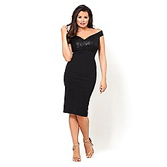 Jessica Wright for Sistaglam - Black 'raquel' sequin bust bodycon midi dress