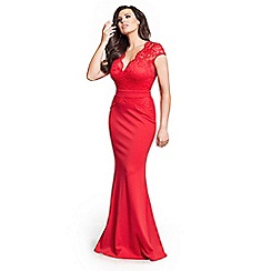 Jessica Wright for Sistaglam - Red  'Carly' petite lace slim fitting v neck maxi dress