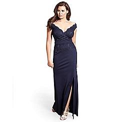 Jessica Wright for Sistaglam - Navy 'Shayda' petite bardot vip sequin slim fitting maxi dress