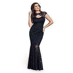 Jessica Wright for Sistaglam - Black 'Alexus' petite lace keyhole maxi dress with scallop detail