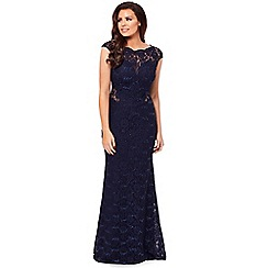 Jessica Wright for Sistaglam - Navy 'Eliora' petite lace maxi dress