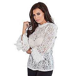 Jessica Wright for Sistaglam - White 'Talita' sheer lace top with frilled neckline and sleeves