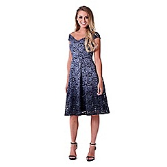 Sistaglam - Silver 'Montana' ombre sequin bardot prom dress