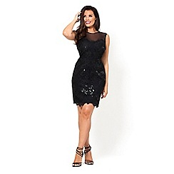 Jessica Wright for Sistaglam - Natacha black all over lace mesh high neck bodycon dress