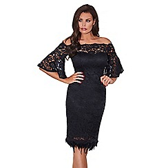 Jessica Wright for Sistaglam - Black 'Ivana' off the shoulder all over lace pencil dress with loose fitting sleeves