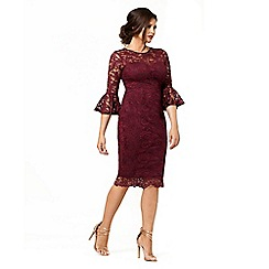 Jessica Wright for Sistaglam - Berry 'Luisa' lace dress with bell sleeve bodycon dress