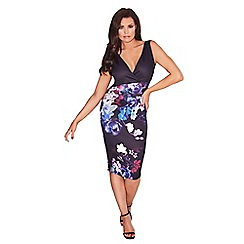 Jessica Wright for Sistaglam - Black 'Marion' v-neck floral bodycon dress