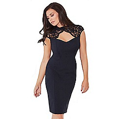 Jessica Wright for Sistaglam - Black 'Tracey' lace peephole sweetheart neckline bodycon midi dress
