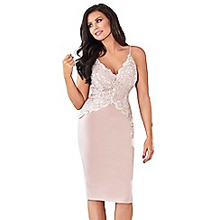 Jessica Wright for Sistaglam - Nude 'Santana' lace sweetheart neckline spaghetti strap bodycon dress